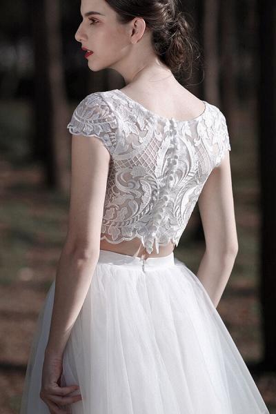 Latest Short Sleeve A-line Tulle Wedding Dress_7