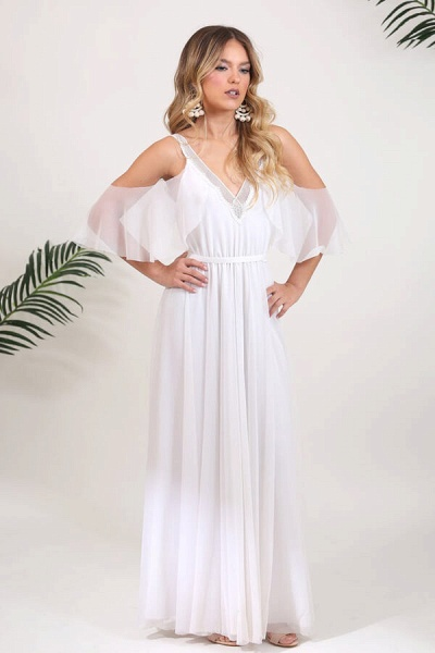 V-neck Cold Shoulder Chiffon A-line Wedding Dress_1