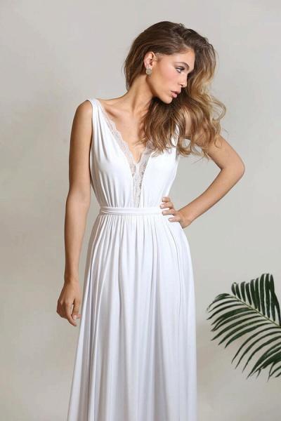 Open Back V-neck Lace Chiffon A-line Wedding Dress_7