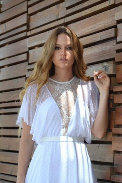 Polka Dot Short Sleeve Lace Tulle Wedding Dress_8