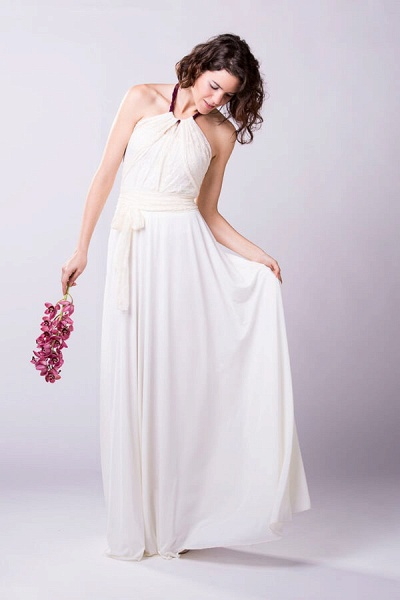 Convertible Lace Floor Length Sheath Wedding Dress_2