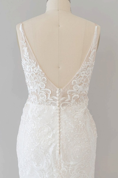 Elegant Appliques V-neck Sheath Wedding Dress_7