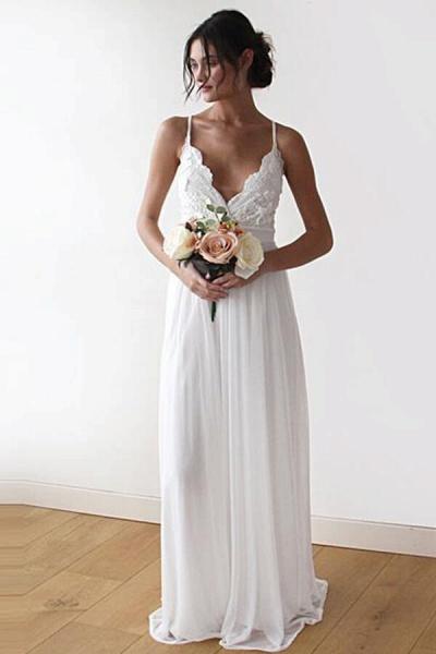 Spaghetti Strap Appliques Chiffon Wedding Dress_1