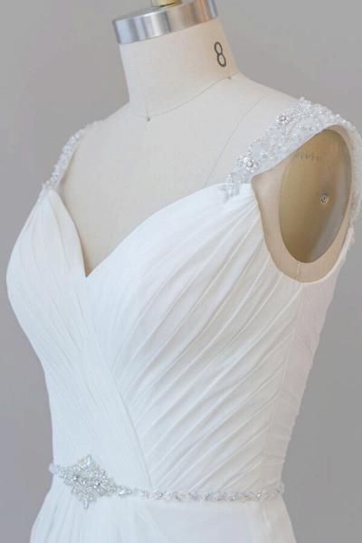 Elegant Ruffle Beading Chiffon Sheath Wedding Dress_7