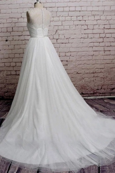 Illusion Lace Tulle Chapel Train Wedding Dress_3