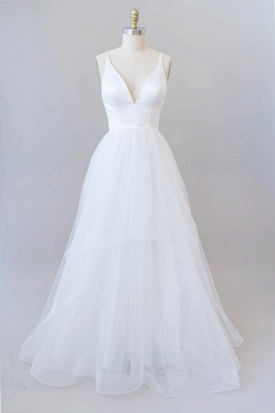 Beautiful V-neck Tulle A-line Wedding Dress_2