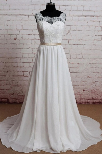 Elegant Lace Chiffon A-line Wedding Dress_1