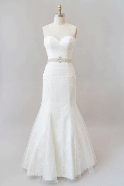 Awesome Ruffle Strapless Lace Sheath Wedding Dress_1