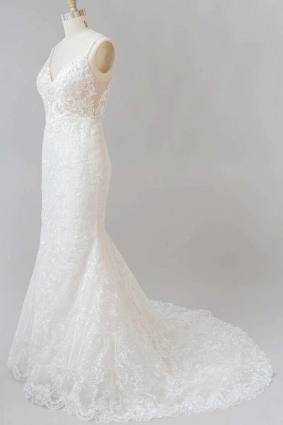 Elegant Appliques V-neck Sheath Wedding Dress_4
