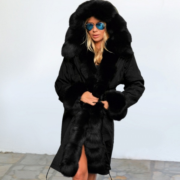 Winter Faux Fur-trimmed Long-length Overcoat_36