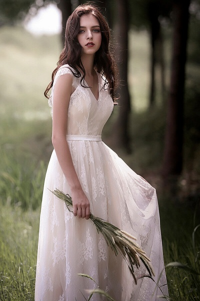 Graceful V-neck Lace A-line Wedding Dress_5