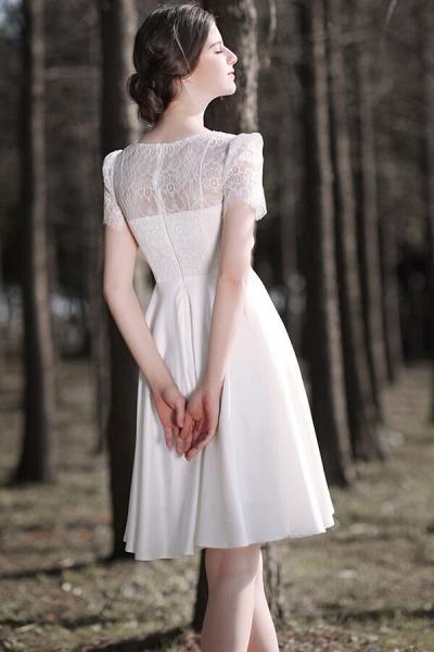Short Sleeve Lace A-line Short Wedding Dress_6