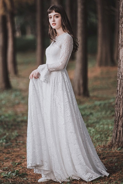 Illusion Long Sleeve Lace A-line Wedding Dress_4