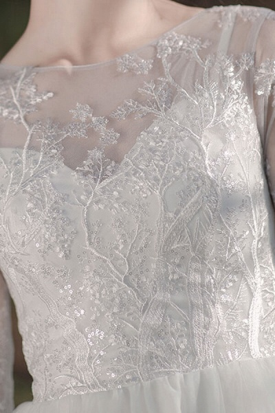 Long Sleeve Sequins Tulle A-line Wedding Dress_12
