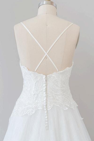 Spaghetti Strap Applique Tulle A-line Wedding Dress_8