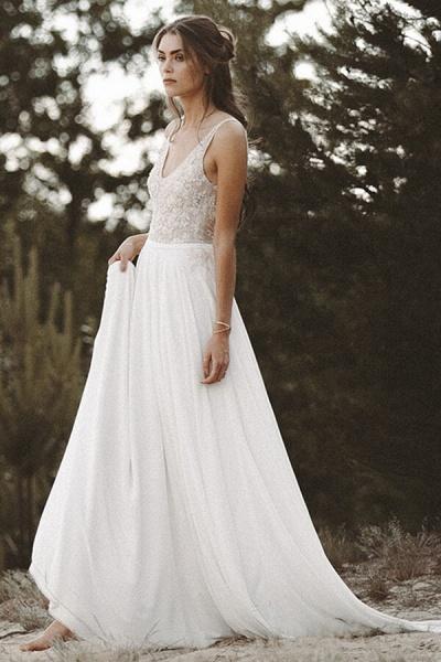 V-neck Lace Beading Chiffon A-line Wedding Dress_1