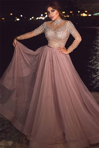 Beading A-line Tulle High-neck Evening Dresses_1