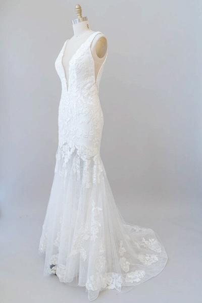 Deep V-neck Appliques Tulle Mermaid Wedding Dress_5