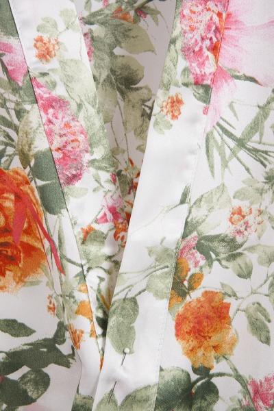 Short Sleeve Floral Print Bridesmaid Bridal Robes_4