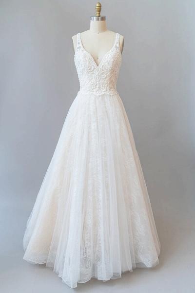 V-neck Appliques Tulle Chapel Train Wedding Dress_1