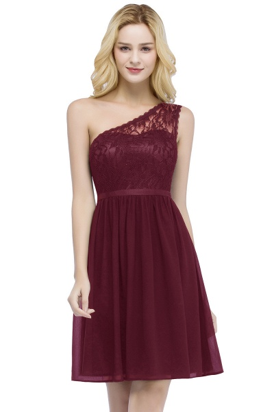 ROSA | A-line Short One-shoulder Lace Top Chiffon Homecoming Dresses with Sash_1