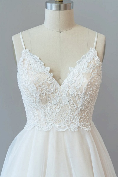 Spaghetti Strap Lace Tulle A-line Wedding Dress_6