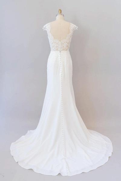 Cap Sleeve Illusion Lace Sheath Wedding Dress_3