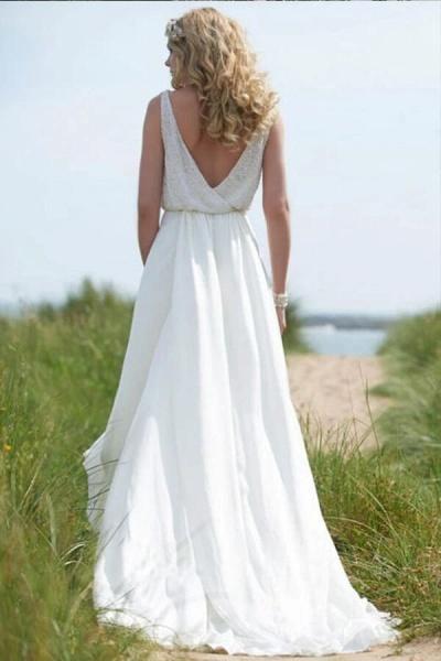 Open Back V-neck Lace Chiffon A-line Wedding Dress_3
