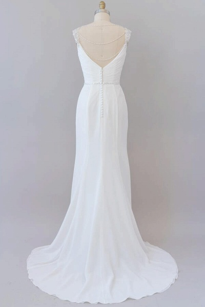 Elegant Ruffle Beading Chiffon Sheath Wedding Dress_3