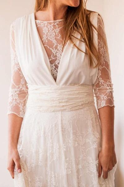 Amazing Lace Chiffon Floor Length Wedding Dress_5