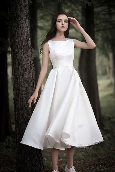 Graceful Satin A-line Wedding Dress_1