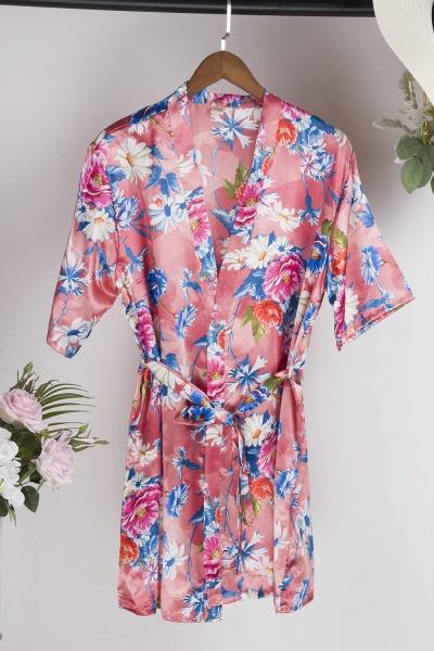 Short Sleeve Floral Print Bridesmaid Bridal Robes_6