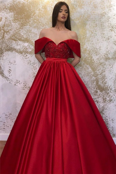 Lace Off-the-shoulder A-line Sweetheart Formal Dresses_2