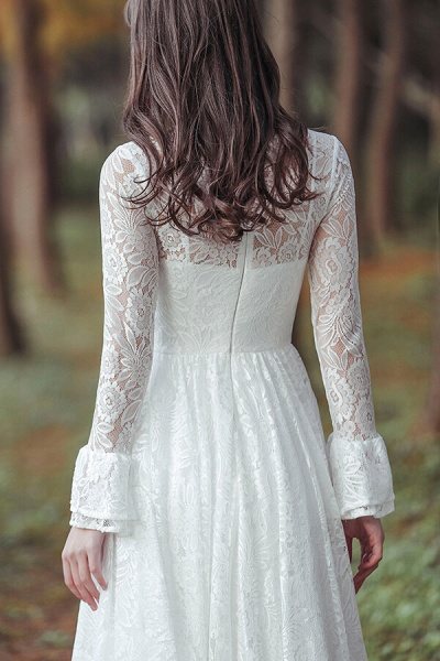 Illusion Long Sleeve Lace A-line Wedding Dress_8