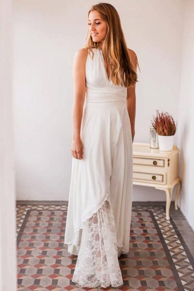 Empire Waist V-neck Lace Chiffon Wedding Dress_1