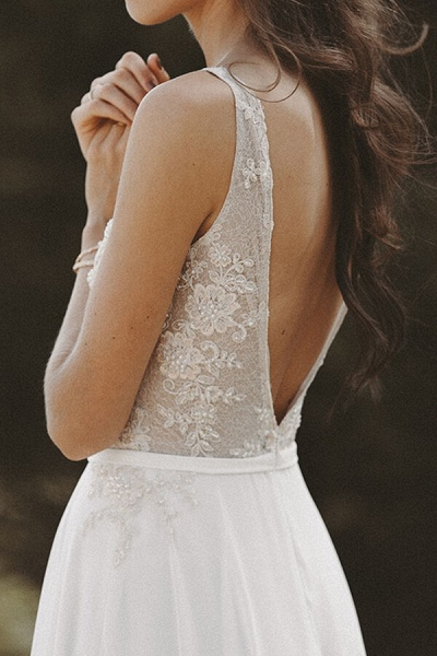 V-neck Lace Beading Chiffon A-line Wedding Dress_7