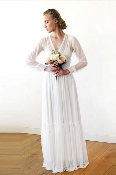 Graceful Long Sleeve V-neck Chiffon Wedding Dress_4