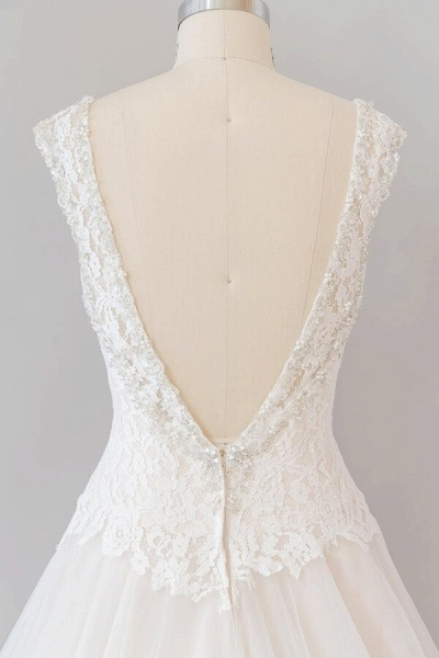 Elegant Open Back Lace Tulle A-line Wedding Dress_8