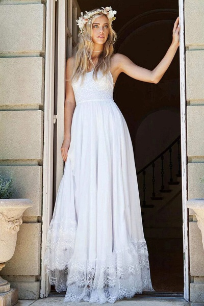 Amazing Spaghetti Strap Lace Chiffon Wedding Dress_1