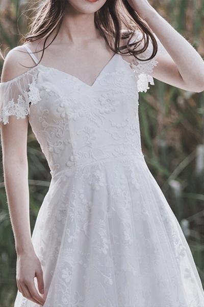 Cold-shoulder Lace Tulle A-line Wedding Dress_10