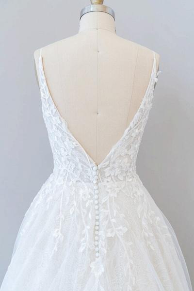 Open Back Appliques Tulle A-line Wedding Dress_8