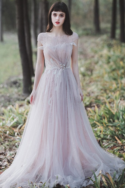 Eye-catching Cap Sleeve Lace A-line Wedding Dress_1