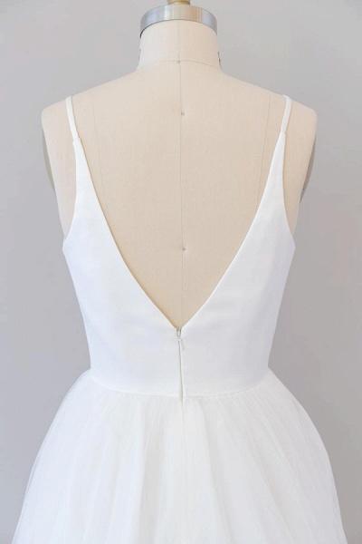 Beautiful V-neck Tulle A-line Wedding Dress_8