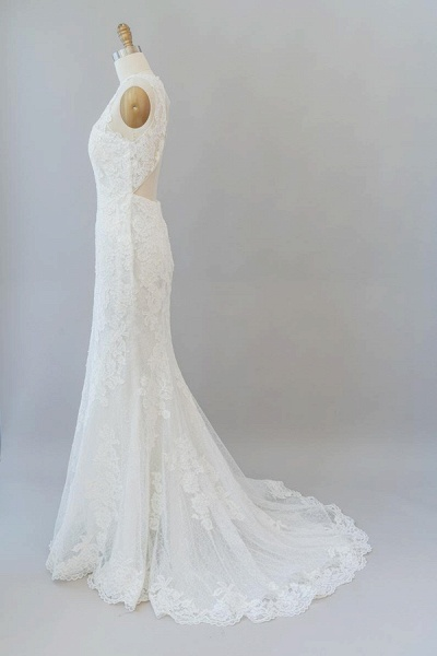 Awesome Illusion Lace Mermaid Wedding Dress_5