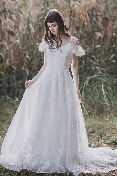 Cold-shoulder Lace Tulle A-line Wedding Dress_5
