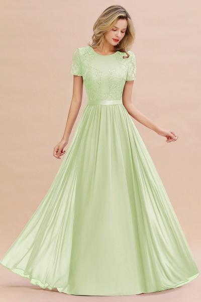 BM0831 Chiffon Lace Scoop Short Sleeve Bridesmaid Dress_35