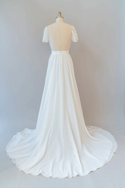 Ruffle Short Sleeve Chiffon A-line Wedding Dress_3