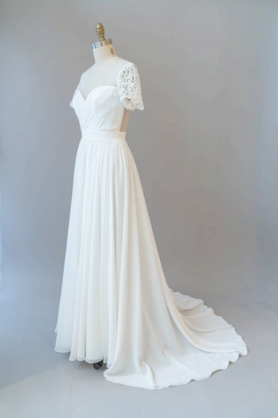Ruffle Short Sleeve Chiffon A-line Wedding Dress_4