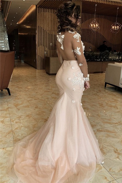 Appliques V-neck Mermaid Lace Prom Dresses_2