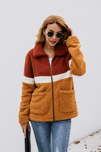 Daily Street Fashion Basic Two Toned Fur Coats_6